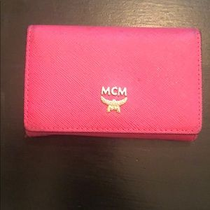 MCM Hot Pink Saffiano Leather Wallet Card Case